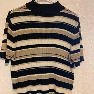 Croft & Borrow Stripe Black & Beige Sweater XL